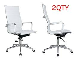 classic eames replica white leather high back chair with chrome