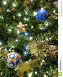 blue and gold tree decorations