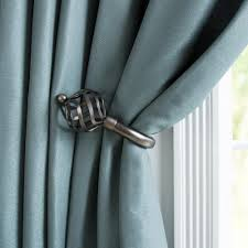 Curtain Holdbacks Home Depot by Lavish Home Sphere Holdback Pair In Pewter 63 19131a P The Home