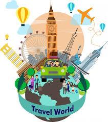 travel world background with symbols around planet free