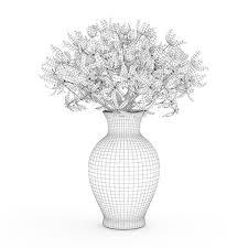 white vase blue flowers in white vase 3d cgtrader