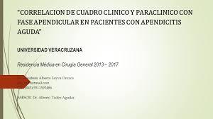 guia de la universidad veracruzana 2017 correlacion de cuadro clinico y paraclinico con fase apendicular