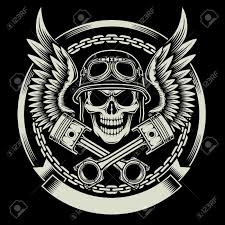 vintage biker skull with wings and pistons emblem royalty free