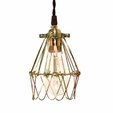 wire cage pendant light minimalist polished brass cage pendant barn light electric