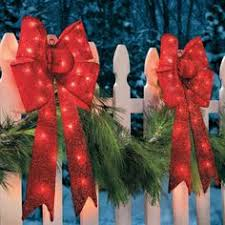 Christmas Window Decorations At Lowes by Shop Holiday Living 36 In Lighted Mesh Bow Outdoor Christmas