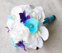 blue and purple orchids silk wedding bouquet with white roses blue purple orchids and