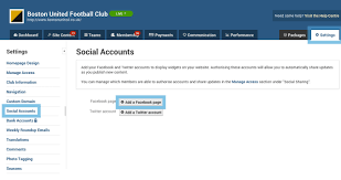 social accounts settings club website user guides