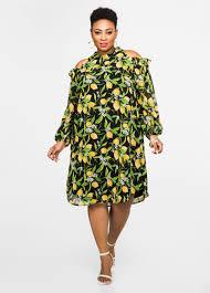 cold shoulder dress buy lemon print cold shoulder dress black clearance
