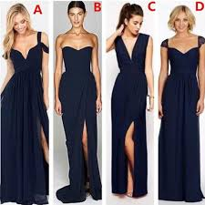 bridesmaid dress most popular different styles mismatched chiffon navy blue
