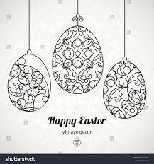 black outline ornamental eggs your easter stock vector 260710682