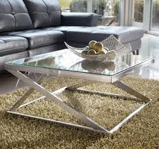 Chrome And Glass Coffee Table Brushed Metal Square Cocktail Table With Clear Tempered Glass Top