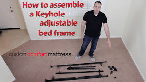 bed frame support system how to assemble a keyhole adjustable bed frame youtube