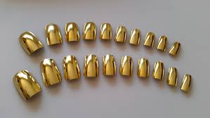 gold nails press on nails glue on nails short gold nails