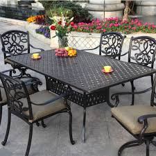 Cast Aluminum Patio Dining Sets - 7 piece outdoor dining set with round table