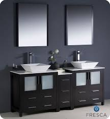 Fresca Torino  Espresso Modern Double Sink Bathroom Vanity With - Bathroom vanities double vessel sink