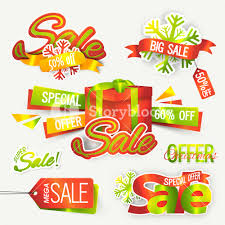 discount ribbon set of sale sticker tag label or ribbon special discount offer