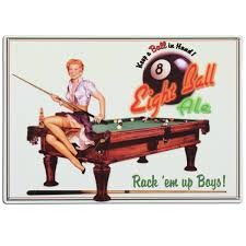 Eight Ball Ale Billiards Pin Up Game Room Sign Vintage Beer