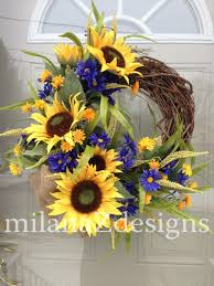 sunflower door wreath french country floral wreath grapevine sunflower door wreath french country floral wreath grapevine summer decoration blue yellow flowers bridal shower hanging arrangement