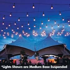 Outdoor Suspended Lighting 100 Commercial Light Strand Kit S14 Clear Glass Bulbs Black