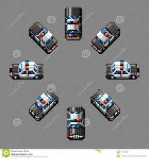 pixel art car police car eight directions retro pixel design royalty free stock