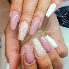 light pink u0026 white squoval acrylic nails w glitter accent nails