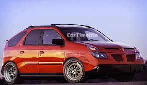 pontiac aztek red 8 boring cars made mad with rocket bunny kits