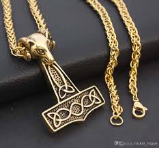 wholesale gothic gold color viking norse thors hammer mjolnir