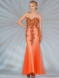 orange strapless mermaid prom dress sung boutique l a