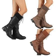 s boots lace up low heel womens combat fashion boots lace up knee high low
