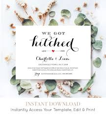 elopement invitations elope announcement template diy wedding elopement invitation