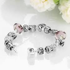 sterling silver european bead bracelet images Sterling silver european pink beads heart lucky charm bracelet l5 jpg