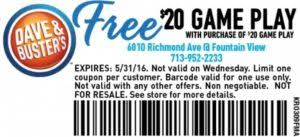 Old Country Buffet Coupon Buy One Get One Free by Dave And Busters Coupons 50 Off Rewards U0026 Deals
