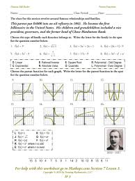 Graphing Functions Worksheet If 3 Parent Functions Mathops