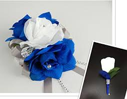 royal blue corsage and boutonniere 2pc set royal blue and white wrist corsage with