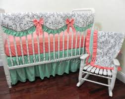 Coral And Mint Bedding Mint Crib Bedding Etsy