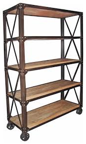 chorley industrial rustic metal wood rolling bookcase with wheels