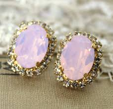 big stud earrings pink blush big oval stud earring 14k plated gold post