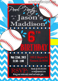 baseball pool party invitation custom pool party water