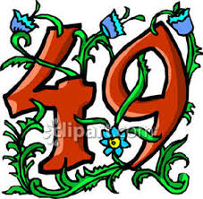 49 by 49 With Blue Flowers Royalty Free Clipart Picture