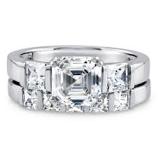 zirconia stone rings images Sterling silver asscher cubic zirconia cz 3 stone 5 stone jpg