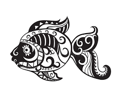 fish with ornaments in the style of the maori stock illustration