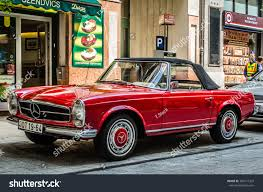 classic red mercedes budapest hungary may 29 2015 vintage stock photo 394577329