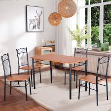 Modern Wood Dining Room Tables Amazon Com Tangkula Steel Frame Dining Set Table And Chairs