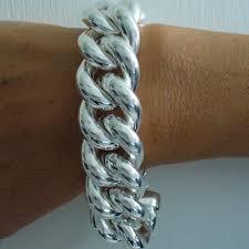 solid sterling silver mens bracelet images Silver hollow curb bracelet jpg