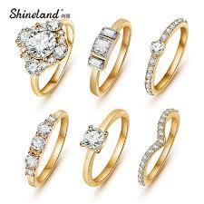 aliexpress buy new arrival fashion shiny gold plated 6pcs set hot shiny gold color austrian zircon rings set