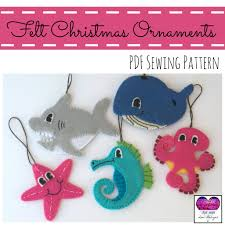 Felt Toddler Friendly Christmas Ornaments Set Of 5 Sea Animals