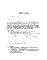 Military Job Descriptions For Resume by Network Technician Sample Resume Best Free Resume Collection
