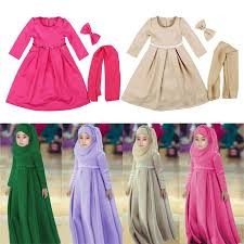 muslim maxi dresses for baby girls clothes costume children bow