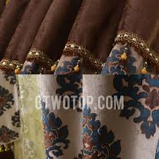 Gold And Blue Curtains Jacquard Living Room Chocolate Brown And Blue Curtains