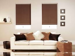decorating brown blackout bali cellular shades with white sofa